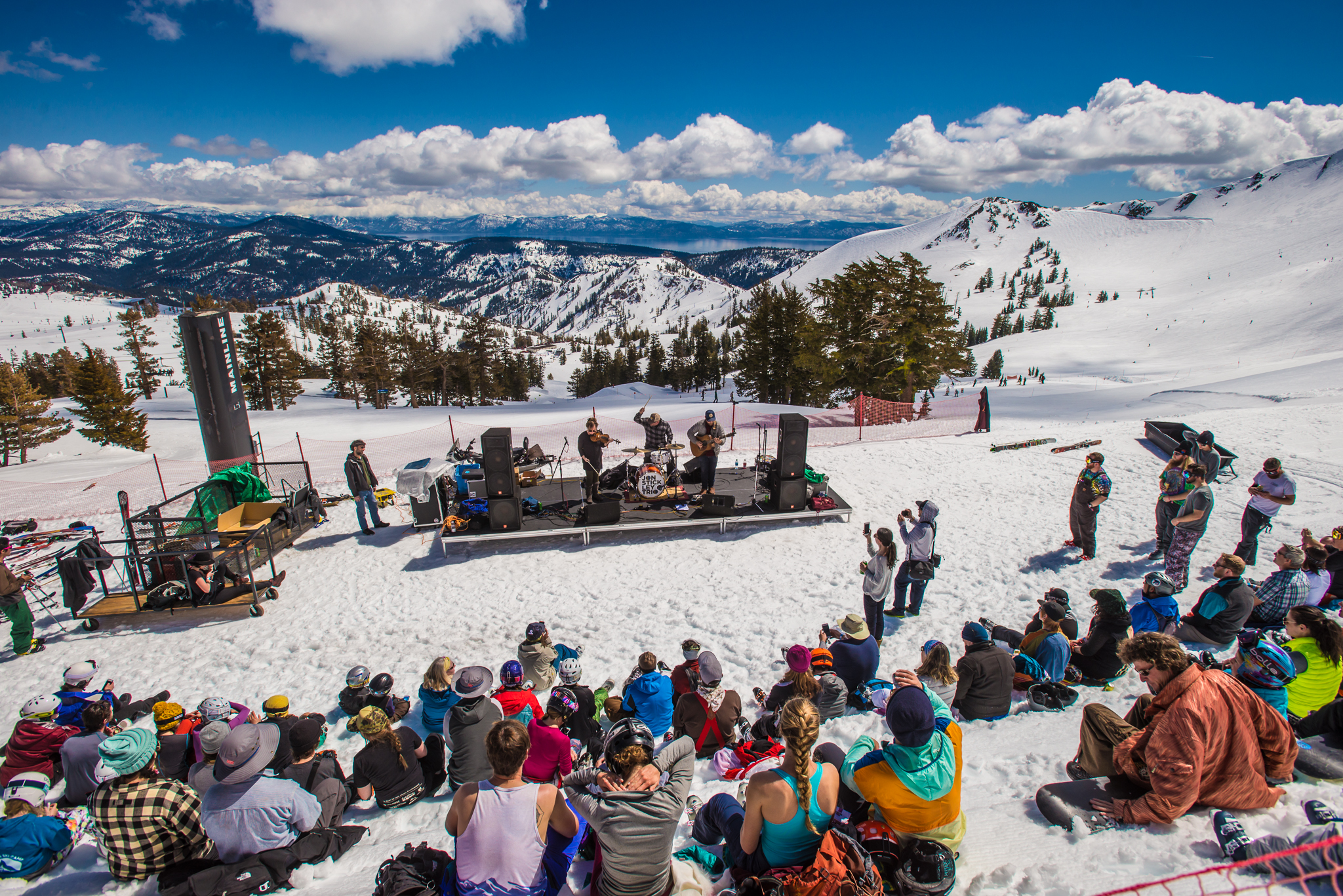Jon Stickley trio perform on a snowy mountaintop overlooking Lake Tahoe in California.